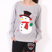 Holiday Winter Cute Round Neck Snowman Sweater 3 Colors