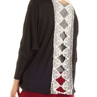 Crochet-Back Cocoon Cardigan by Charlotte Russe - Black
