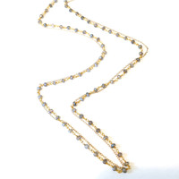 Double Rosary Chain Long Necklace - Labradorite