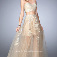 Long Gold Prom Dress with Sheer Skirt by La Femme