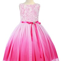 Fuchsia Pink Ombré Tulle Girls Dress with Rosette Bodice 2T-14