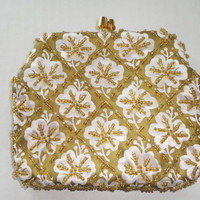 Vintage Handmade French Beaded Evening Bag, Small White  Gold Beaded Satin Purse, European Floral Beadwork Handbag; 1950s Fashion Accessory