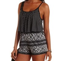 Black Combo Mixed Print Flounce Romper by Charlotte Russe