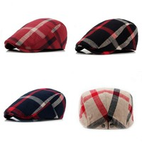 Unisex Multicolor Plaid Newsboy Beret Cap Cowboy Cabbie Gatsby Outdoor Sports Travel Driving Duckbill Sun Hat