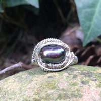 Size 8.5 wire wrapped black pearl sterling silver ring handmade jewelry