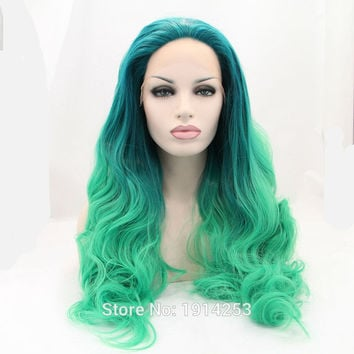 Kylie Jenner synthetic lace front wig ombre dark green to green wig
