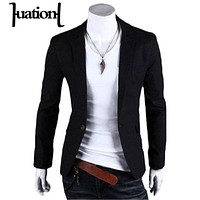 Huation 2018 Brand Black Clothing Blazer Men One Button Men Blazer Slim Fit Costume Homme Suit Jacket Blazer masculino plus size