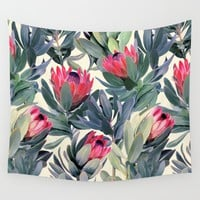Painted Protea Pattern Wall Tapestry by Micklyn | Society6