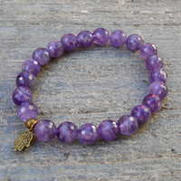 Healing - Genuine Faceted Amethyst Gemstone Yoga Mala Bracelet