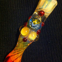 Glass pipe chillum fumed one hitter.  Dancing Bear Millie with highlights. Color changing.  Flat mouth piece.