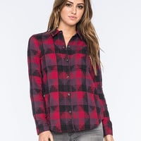 Vans Free Speech Womens Flannel Shirt Red Combo  In Sizes
