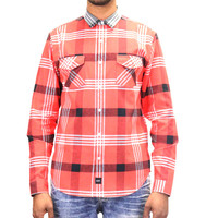 DOPE Contrast Color Flannel Button Up Woven - Red