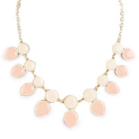 Beige Round and Teardrop Necklace