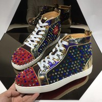 Cl Christian Louboutin Louis Strass Bling Bling Black Men's Flat Shoes Boots Pik Pik Style #1980 Sneakers men cl Fashion Shoes