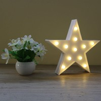 Decorative Letters Light Star Shape LED Plastic Marquee Light Battery Operated LED Marquee Sign for Home Christmas Decorations