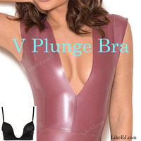 Push up V Bra Super Ultra Deep U Plunge 3 Way Straps Convertible Maximum Cleavage Top