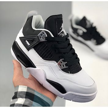 Nike Air Jordan 4 Retro Black and White Basketball Shoes