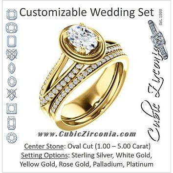CZ Wedding Set, featuring The Reina engagement ring (Customizable Ridged-Bevel Surrounded Oval Cut with 3-sided Split-Pavé Band)