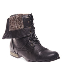Foldover Knit-Lined Combat Boots | Wet Seal
