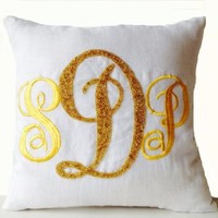 Amore Beaute Handcrafted Throw Pillows Covers - Customized Pillow Covers - Gold Monogram Pillow Cases - White Linen Pillow Cover - Three Letter Monogram - Euro Sham - Large Pillow Cover - Gift - Wedding - Anniversary - Engagement - Graduation - Dorm Decor