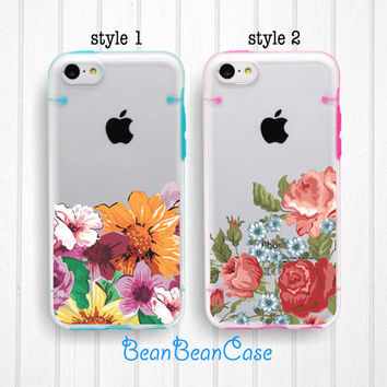 vintage flower rose sunflower floral clear bumper hard cover case for iPhone 6 6 plus, iPhone 5S 5C 5 transparent case, FREE protector (i32)