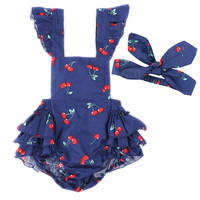 Infant Baby Girls Clothes Romper Jumpsuit Bodysuit Outfits with Headband