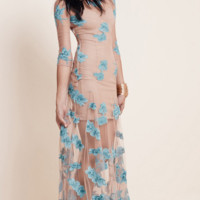 Sheer Mesh Flower Beach Dress