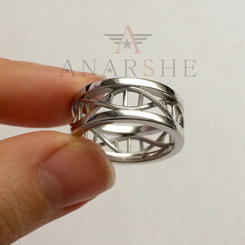 Polished, Shiny Dna ring, ring Dna, science ring, molecule ring, biology ring, bold dna ring, wedding bands, engagement ring, wedding