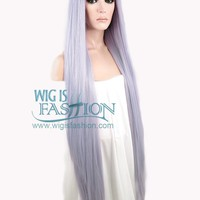 "39"" Long Straight Yaki Purplish Grey Lace Front Synthetic Hair Wig LF701D"