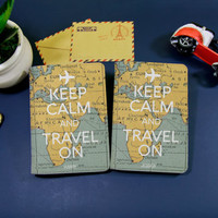 Keep calm and travel on passport covers personalized passport holder map passport holder leather passport holder passport wallet travel