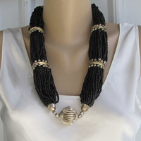 Egyptian Style 36-Strand Black Microbead Necklace Silver Accents Vintage Jewelry