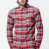 Modern Amusement Long Sleeve Flannel Button Up Shirt - Mens Shirt - Red