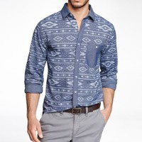 FITTED IKAT PRINT SHIRT