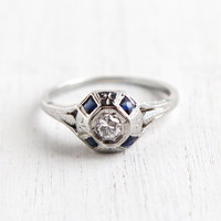 Antique Art Deco 18K White Gold Diamond & Sapphire Ring - Size 7 1/4 1920s Filigree Engagement Fine Jewelry / Dark Blue Gem Accents
