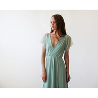 Mint wrap maxi dress with short lace sleeves