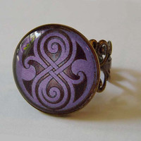 Amethyst Seal of Rassilon Antique Brass Filigree Ring