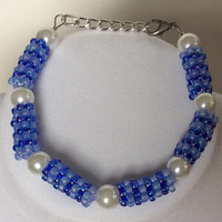 Blue and White Beaded Beads with White Faux Pearl Stackable Bracelet, Stacker Bracelet, Adjustable Bracelet, Pretty, Dressy, Chunky Bracelet