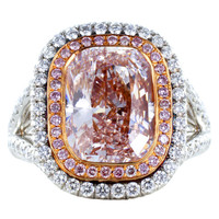 4.36ct Natural Pink Diamond Ring