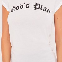 gigi white god's plan slogan t-shirt