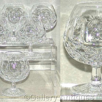 Six Vintage / Retro Brier Glass BLX1 Patricia Pattern (Sputnik) Crystal Cut Glass Large Brandy Goblets / Glasses, c.1960's (ref: 3177)