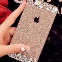 iAnko® Bling Rhinestone Diamond Crystal Glitter Bling Case Cover Shell Phone Case for Apple Iphone5 5s (gold (hard case))