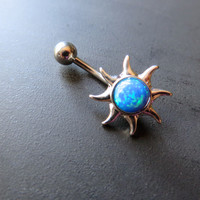 Blue Opal Sun Belly Button Ring Navel Piercing Bar Barbell Bellyring