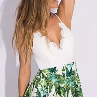 Floral Leaf Print Lace Patchwork Backless Strap Romper