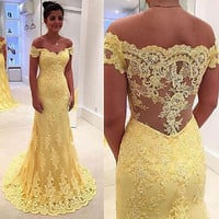 Mermaid Long Yellow Prom Dresses 2017 Sexy Off The Shoulder Vestido Branco Illusion Imported Party Dress Women Evening Gowns