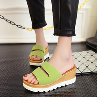 Sandals Slippers Non-Slip Platform Shoes Hollow Out Breathable Wedge Sandals   Slippers Size 36-39 TX0321 salebags