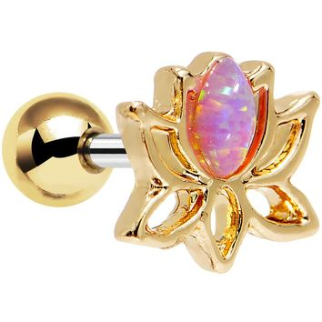 """1/4"""" Pink Faux Opal Gold Plated Lotus Tragus Cartilage Earring"""