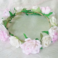 Big flower crown Pastel rose headband /sweet white Pink flower headpiece /floral headpiece/ flower crown ribbon tie back