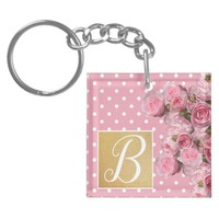 Pink Polkadot and Peonies Key Ring | Zazzle.co.uk