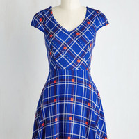 Mid-length Cap Sleeves Fit & Flare Work This Way Dress in Cobalt Plaid