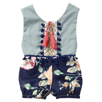 Cute Newborn Kids Baby Girl Sleeveless Cotton Floral Jumpsuit Romper Outfits Clothes